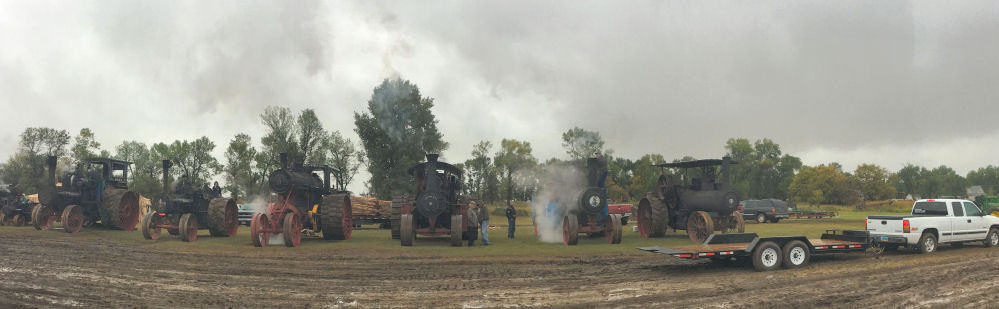 Collection of Steam Tractors at Threshing Event